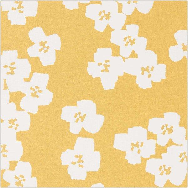 Rico Design Druckstoff Okina Hana Blumen senfgelb-hellgrau 50x140 beschichtet