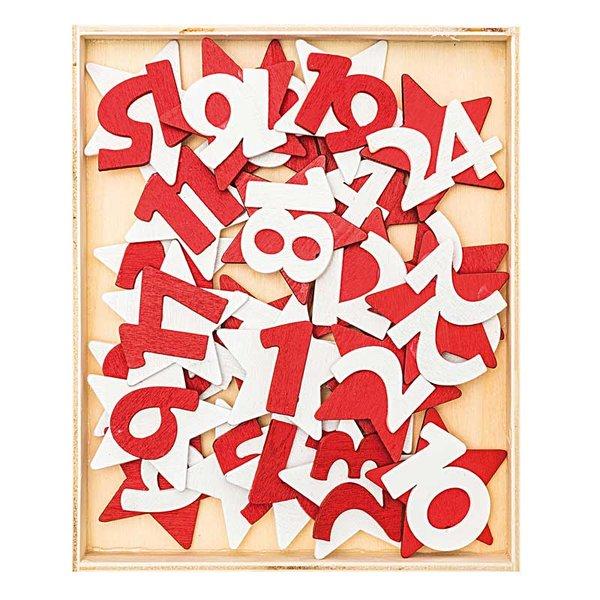 Adventskalender Zahlen 1-24 aus Holz rot-weiß