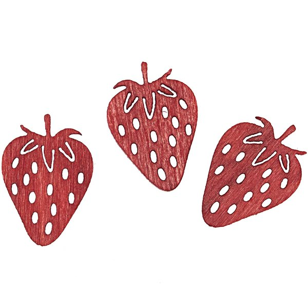 Streu Erdbeere 2cm Holz rot 24 Stück