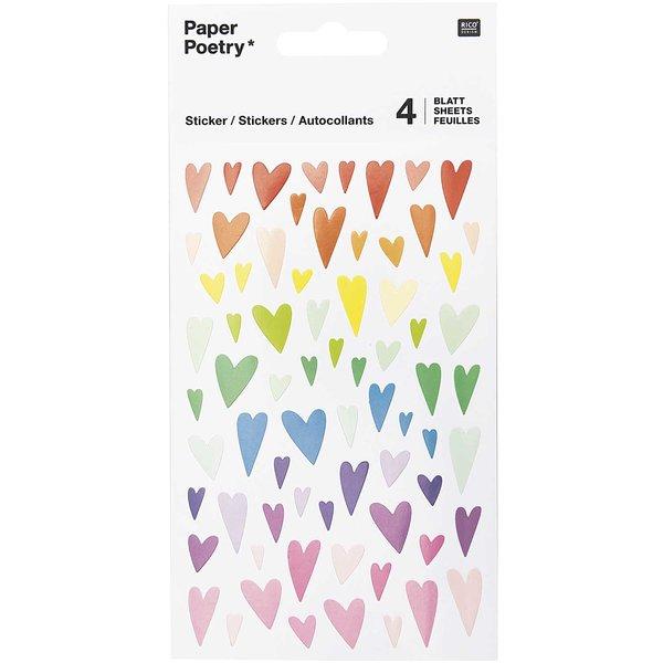 Paper Poetry Sticker Herzen mehrfarbig verformt 10x19cm 4 Bogen