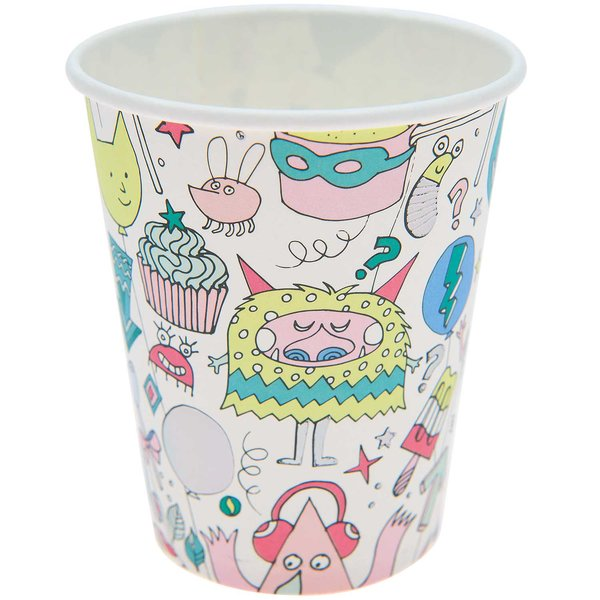 YEY! Let's Party Pappbecher Monster Party 200ml 12 Stück