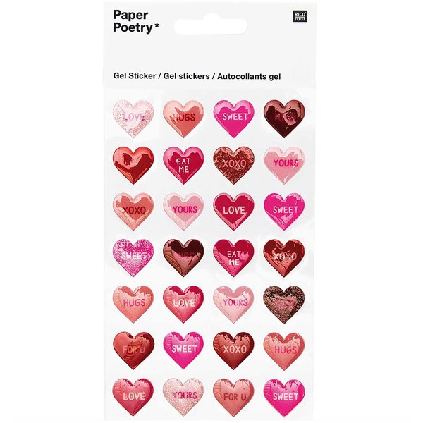 Paper Poetry Gelsticker Herzen Love & Kiss