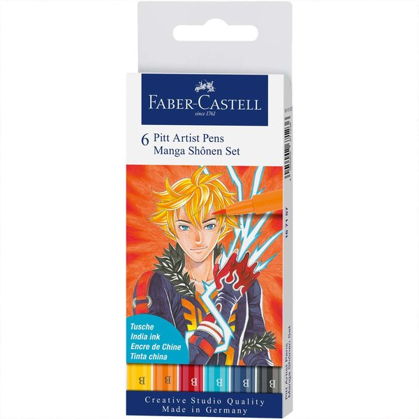 Faber Castell Pitt Artist Pen Manga Shônen Tuschestift-Set 6teilig