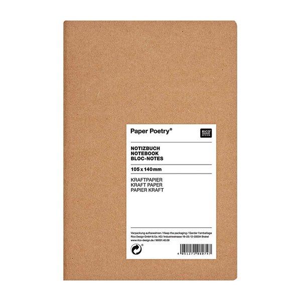 Paper Poetry Notizbuch braun A6 Kraftpapier unliniert