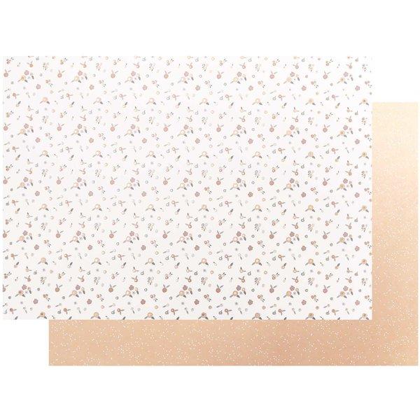 Paper Poetry Motivkarton Blumen puder-gold 50x70cm