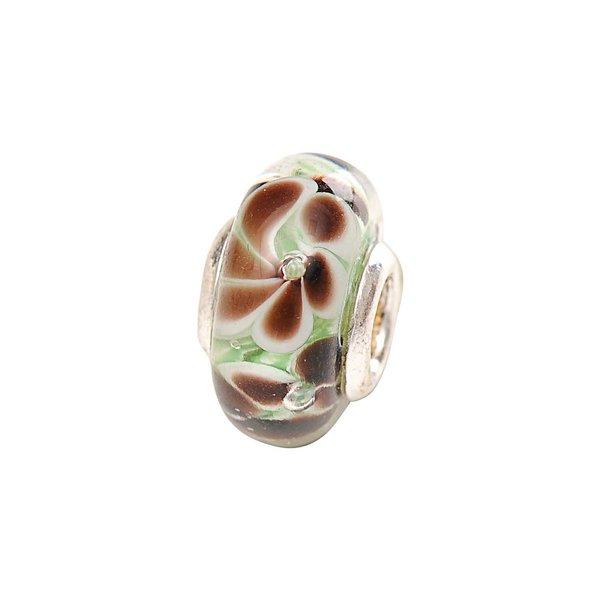 Rico Design Glasperle Blumen braun-grün Ø=13mm