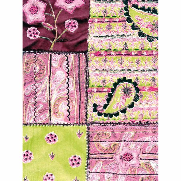 décopatch Papier Patchwork rosa 3 Bogen