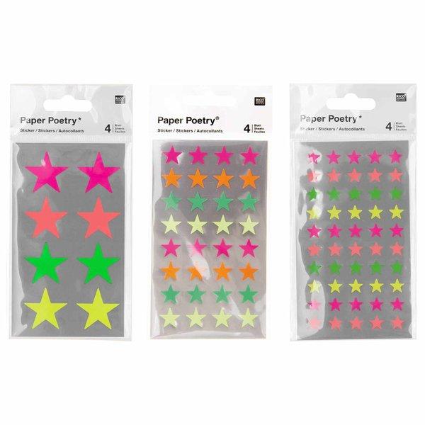 Paper Poetry Sticker Sterne neon 4 Blatt