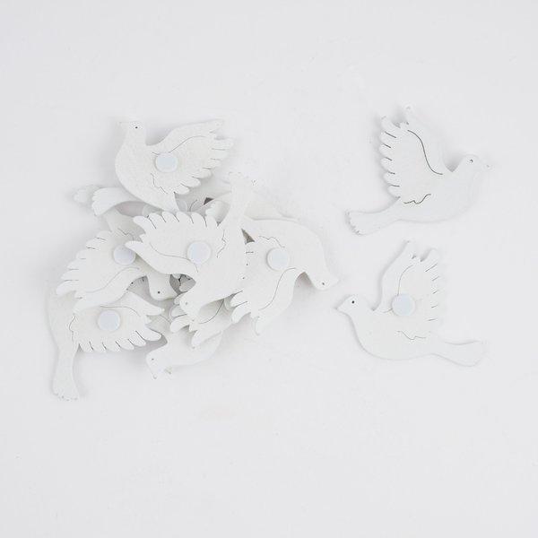 Streu Tauben weiß 4,5cm Holz 12 Stück