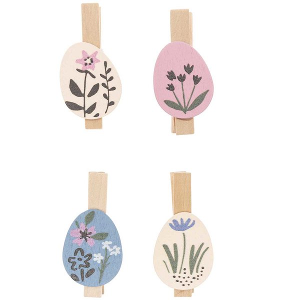 Ohhh! Lovely! Dekoklammern Osterei Blumen Mix 4 Stück