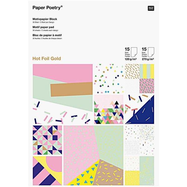 Paper Poetry Motivpapier Block Konfetti 21x30cm 30 Blatt Hot Foil