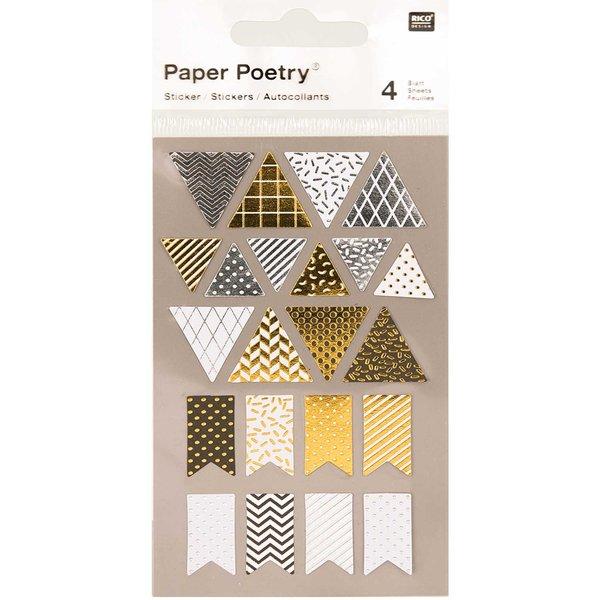 Paper Poetry Sticker Wimpel metallic 4 Bogen