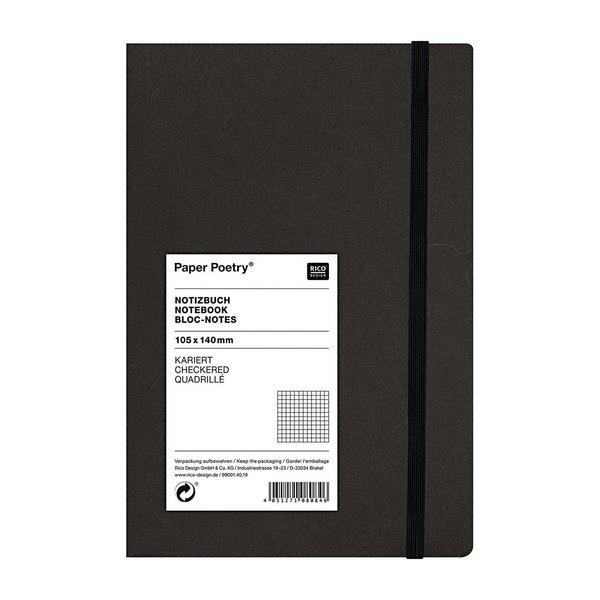 Paper Poetry Notizbuch weiß A6 schwarz kariert