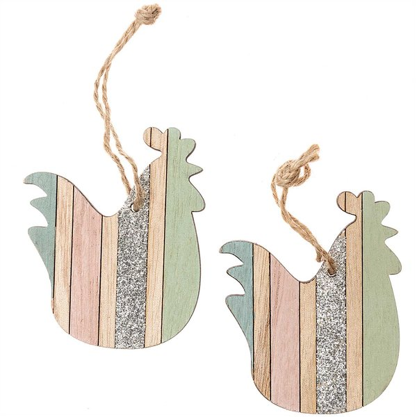 Henne aus Holz zum Hängen 7,5cm 2 Stück