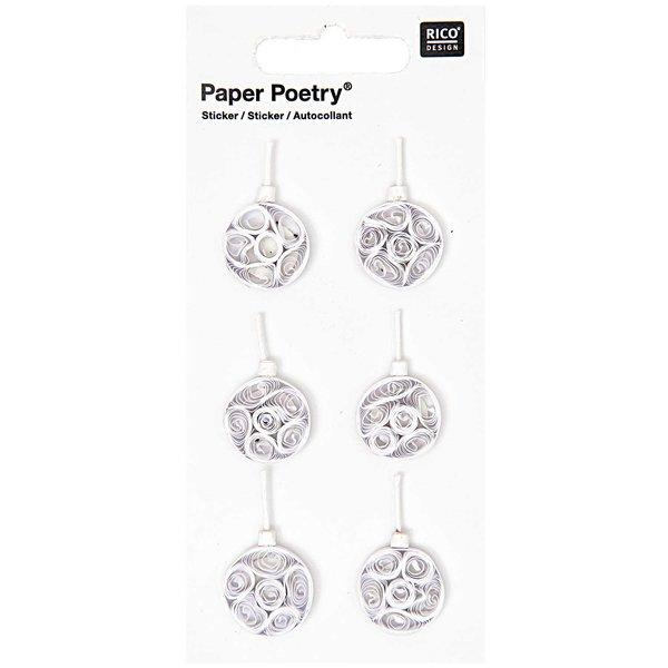 Paper Poetry Quilling Sticker weiße Weihnachtskugeln
