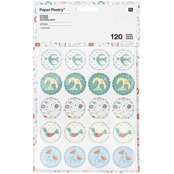 Paper Poetry Sticker Vögel und Blüten blau 120 Stück