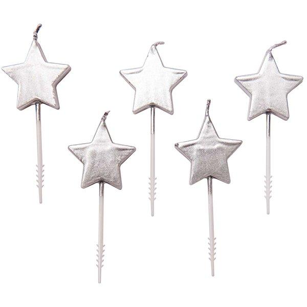 YEY! Let's Party Kerzen Sterne silber 5 Stück
