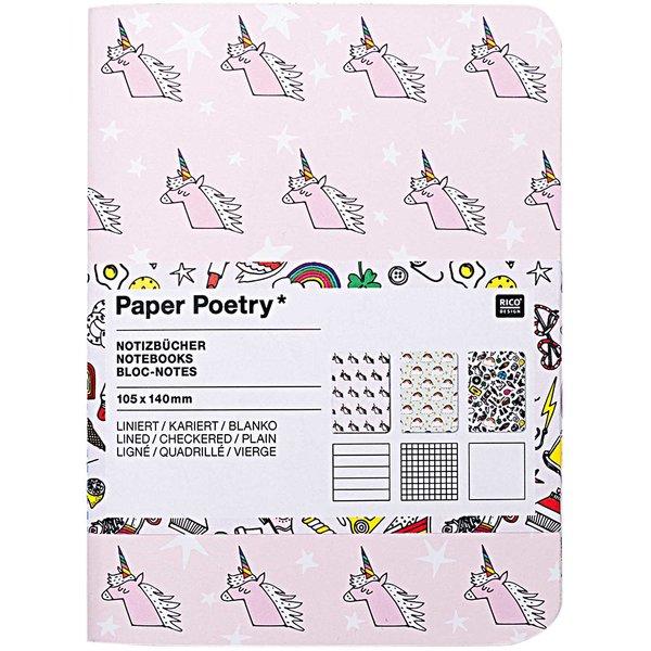 Paper Poetry Notizbücher A6 10,5x14cm 3 Stück