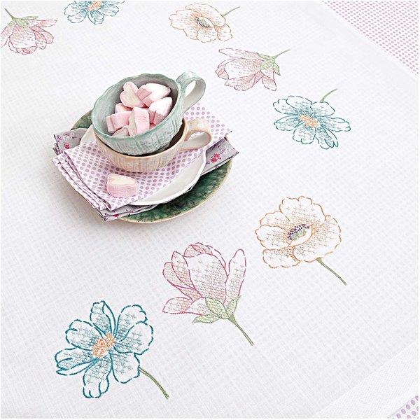 Rico Design Stickpackung Decke Drei Blüten 90x90cm