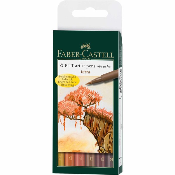 Faber Castell PITT artist pen brush terra 6er Set
