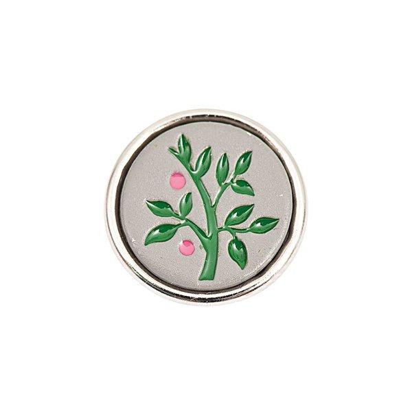Rico Design Knopf Ast mit Beeren grau-grün 14mm