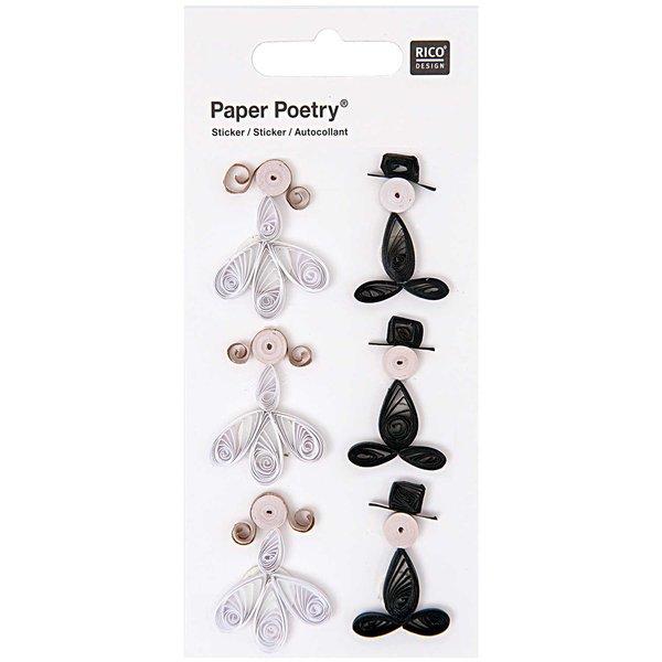 Paper Poetry Quilling Sticker Brautpaar