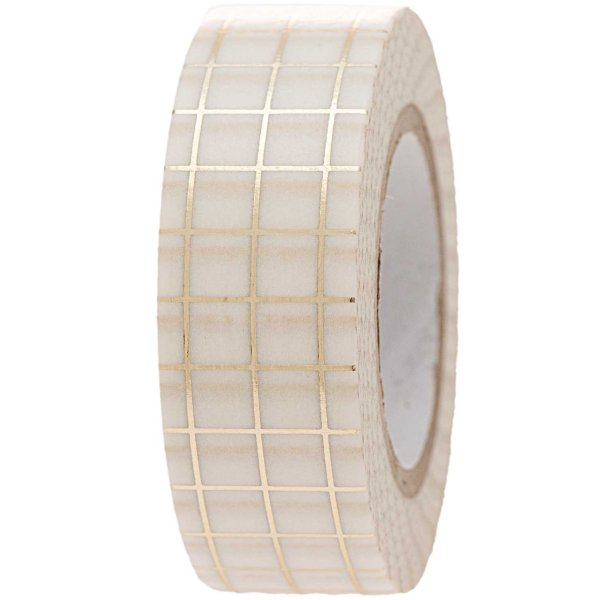 Paper Poetry Tape kariert weiß-gold 1,5cm 10m