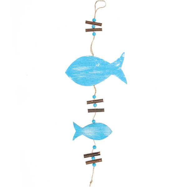 Fischhänger aus Holz blau 40cm