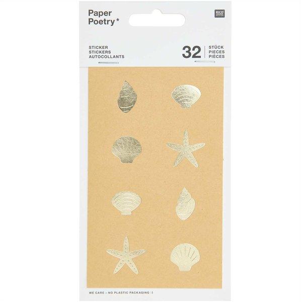 Paper Poetry Sticker Muscheln 4 Blatt