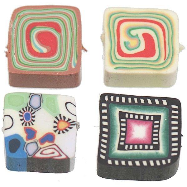 Jewellery Made by Me Quadrate Scheiben eckig mehrfarbig 10x10mm 8 Stück