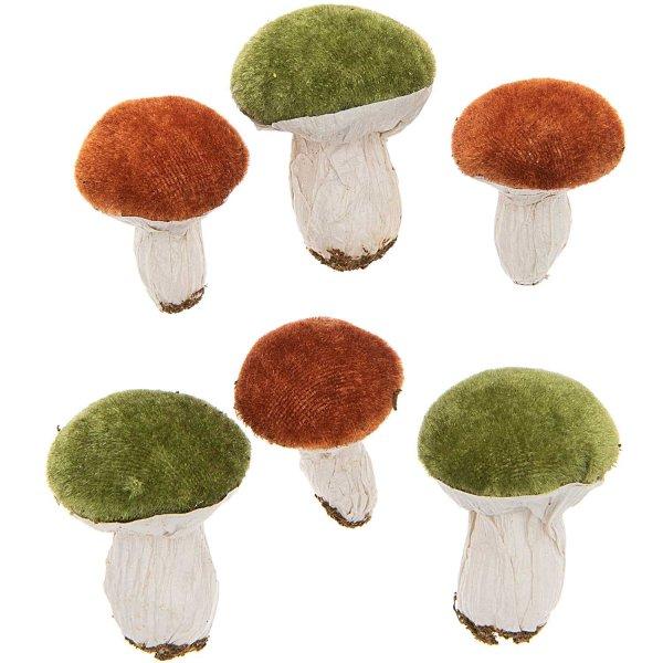 Pilz braun-grün 4-5cm 6 Stück