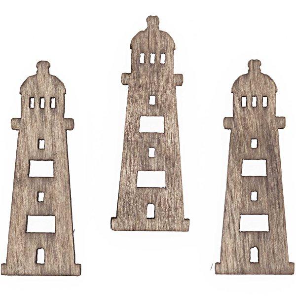 Streu Leuchtturm 4cm Holz natur 12 Stück