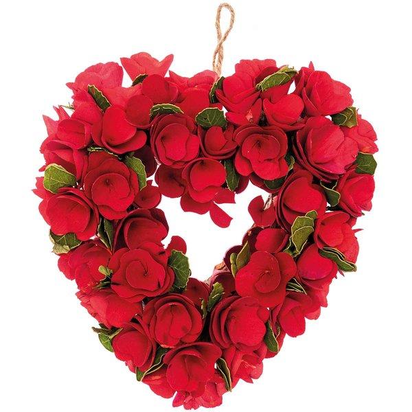 Ohhh! Lovely! Holzblumenkranz herzförmig rot 28x27cm