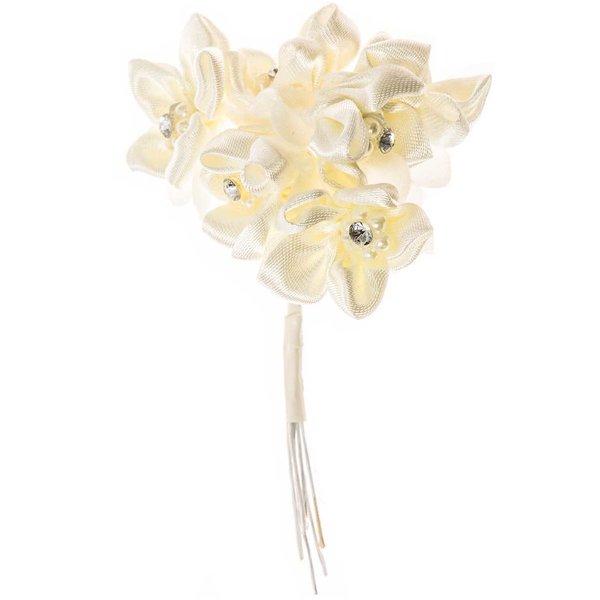 Satinblüte mit Strass und Perlen creme 6 Stück