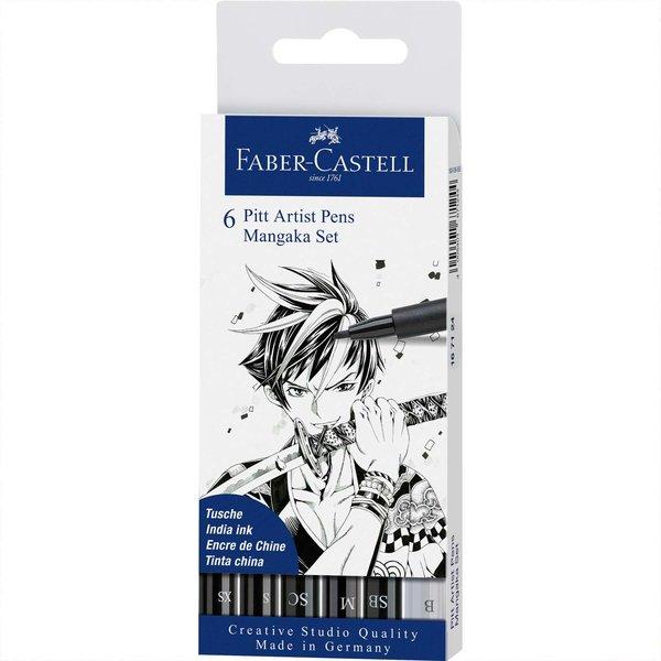 Faber Castell Pitt Artist Pen Manga schwarz Tuschestift-Set 6teilig