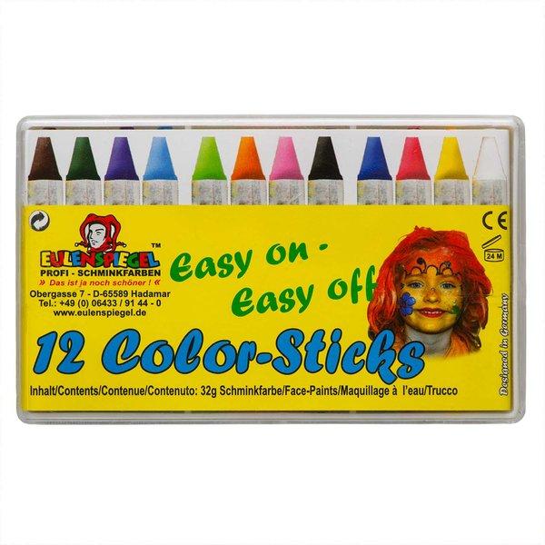 Eulenspiegel Schminkstifte Color-Sticks 12 Stück