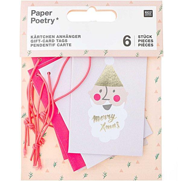 Paper Poetry  Kärtchenanhänger Jolly Christmas pastel 6 Stück