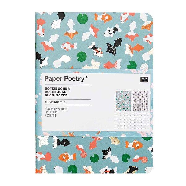 Paper Poetry Notizbücher Jardin Japonais Koi & Katze A6 punktkariert 40 Seiten 2 Stück