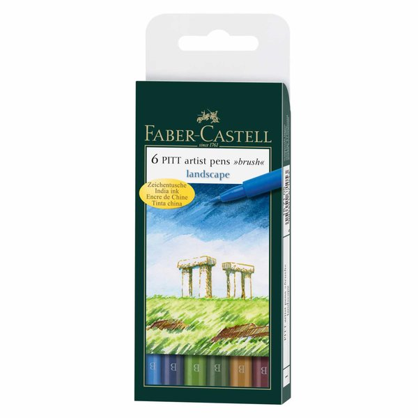 Faber Castell PITT artist pen brush landscape 6er Set