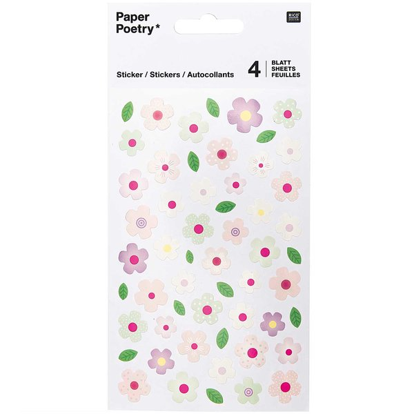 Paper Poetry Sticker Blumen rosa-mint 4 Blatt