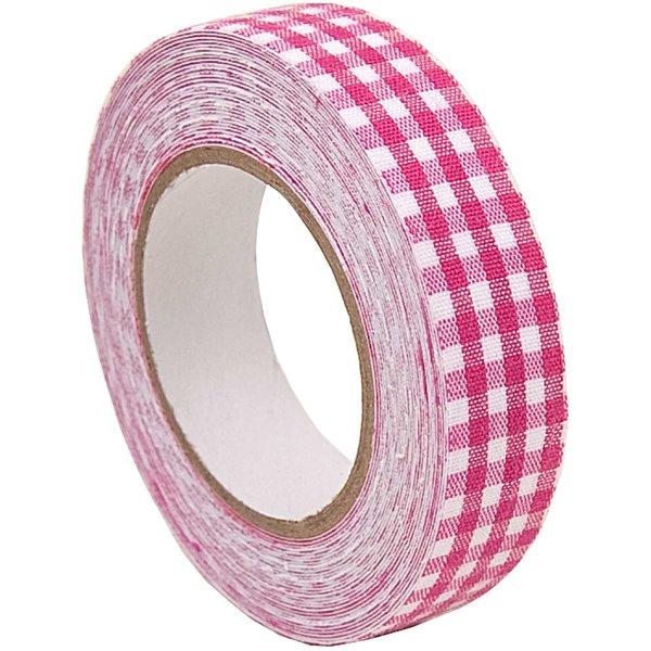 Rico Design Stofftape kariert pink-weiß 5m selbstklebend