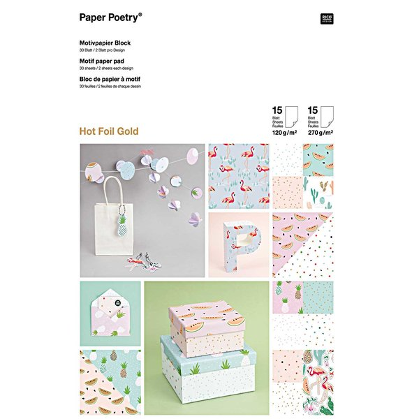Paper Poetry Motivpapier Block 21x30cm 30 Blatt Hot Foil