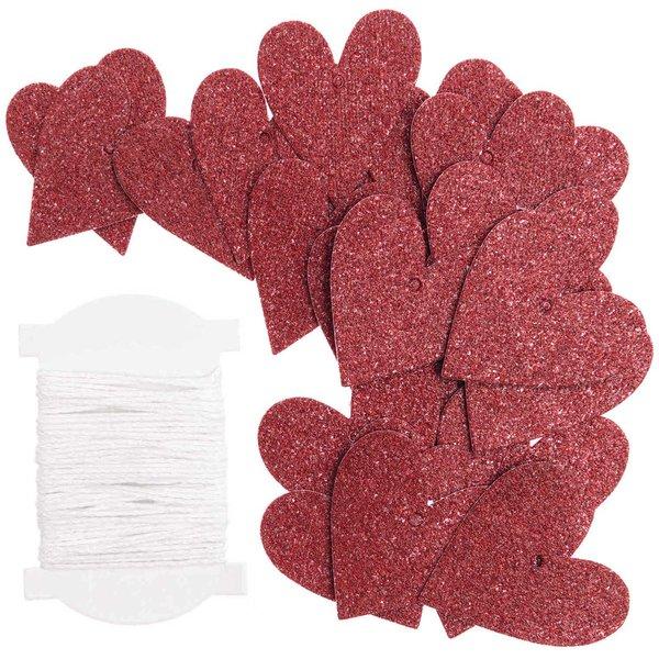 Paper Poetry Papieranhänger Herzen S Glitter rot 24 Stück