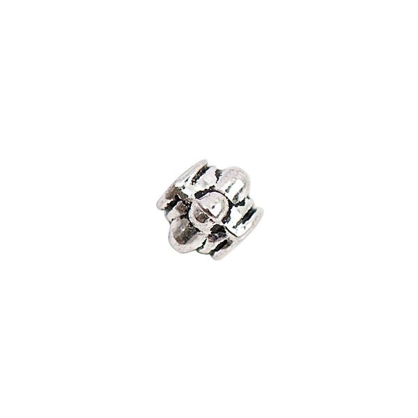 Rico Design Perle Ornament silber 3x4mm 35 Stück