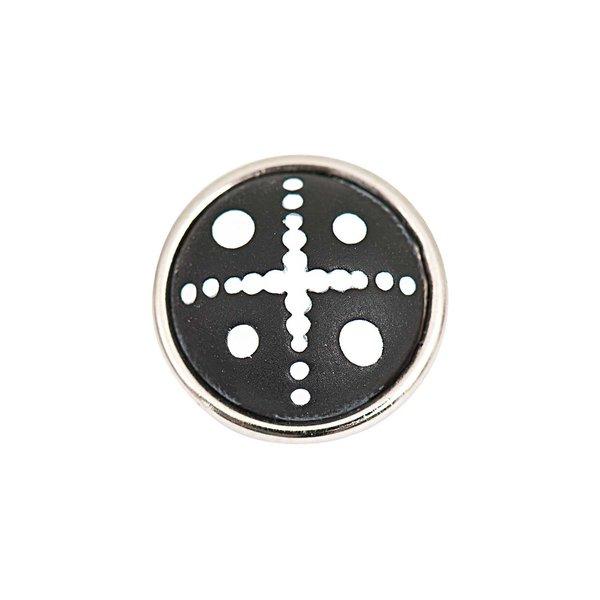 Rico Design Knopf Punkte schwarz-weiß 14mm