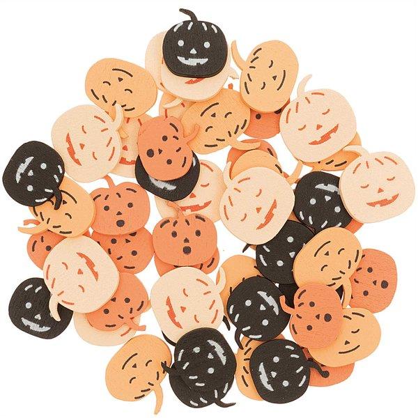 Ohhh! Lovely! Holzstreu Kürbis Mix orange-schwarz 48 Stück