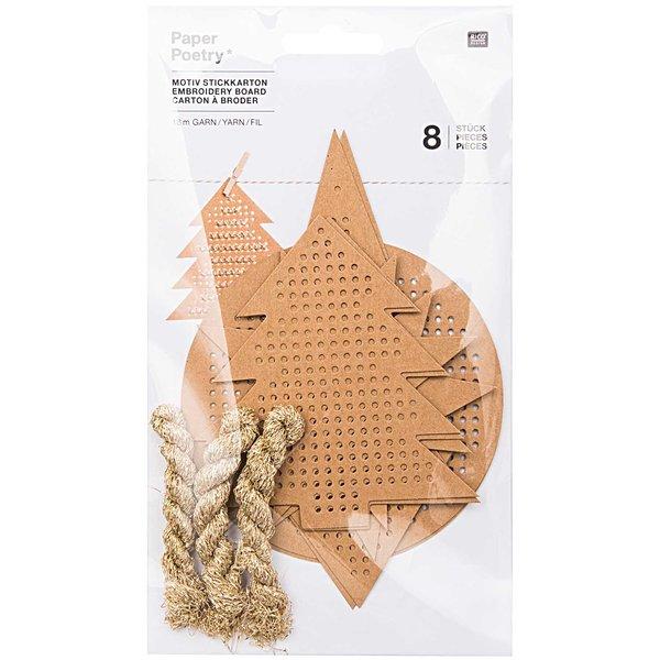 Paper Poetry Motivstickkarton X-MAS gold 8 Stück Kraftpapier mit Garn