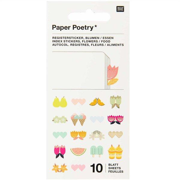Paper Poetry Stickerbuch Register Blumen 10 Blatt