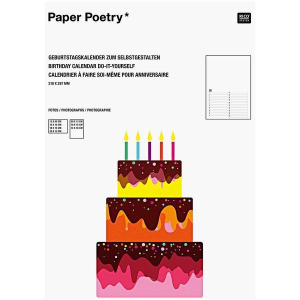 Paper Poetry Geburtstagskalender immerwährend A4