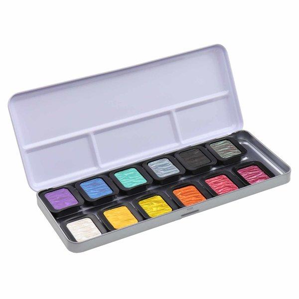 FINETEC Perlglanzfarben Rainbow im Metallkasten 12 Farben